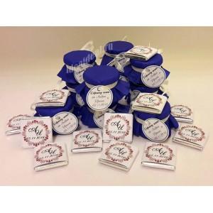 "Подарки для гостей (мини баночки варенья/меда) ""синий"""