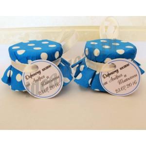 """Подарки для гостей (мини баночки варенья/меда) """"сине-бирюзовый в горох"""""""