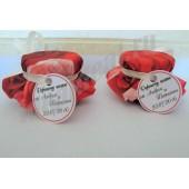 """Подарки для гостей (мини баночки варенья/меда) """"красная роза"""""""
