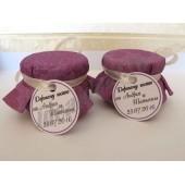 """Подарки для гостей (мини баночки варенья/меда) """"фиолетовый узор"""""""