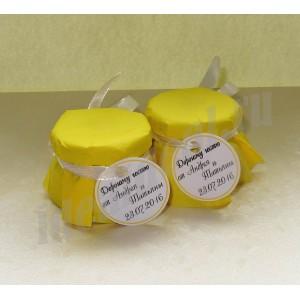 """Подарки для гостей  (мини баночки варенья/меда) """"жёлтый"""""""
