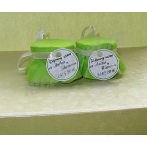 """Подарки для гостей (мини баночки варенья/меда) """"салатовый"""""""