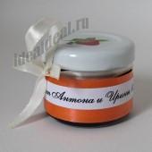 """Подарки для гостей (мини баночки варенья) """"оранжевое оформление"""""""