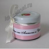 """Подарки для гостей (мини баночки варенья) """"нежно-розовое оформление"""""""