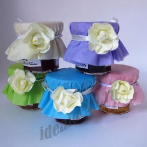 Баночки варенья 50 гр. с цветком (цвет оформления на выбор)