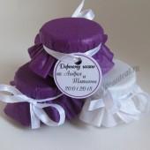 """Подарки для гостей (мини баночки варенья/меда) """"фиолетовый"""""""
