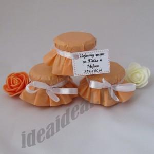 """Подарки для гостей (мини баночки варенья/меда) """"персик"""""""