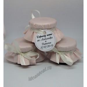 """Подарки для гостей (мини баночки варенья/меда) """"розовая пудра"""""""