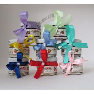 """Подарки для гостей (мини баночки варенья)  """"с лентой и стразом"""" цвет ленты можно выбрать"""""""