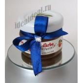 """Подарки для гостей (мини баночки варенья) """"синяя лента и страз"""""""