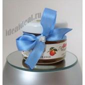 """Подарки для гостей (мини баночки варенья) """"голубая лента и страз"""""""