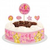 """Набор для украшения торта """"1 годик""""малышка"""