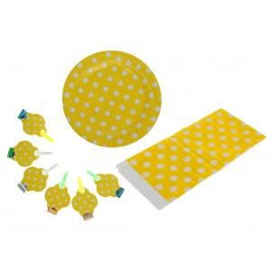 """Набор для праздника """"Горох"""" в наборе: скатерть, 6 тарелок, 6 язычков, цвет желтый"""