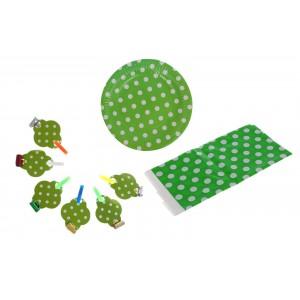 """Набор для праздника """"Горох"""" в наборе: скатерть, 6 тарелок, 6 язычков, цвет зеленый"""