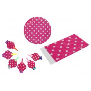 """Набор для праздника """"Горох"""" в наборе: скатерть, 6 тарелок, 6 язычков, цвет розовый"""