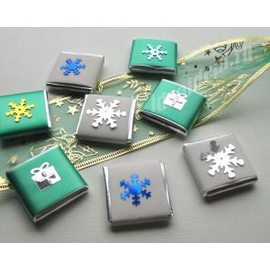 """Шоколадки с Новогодними предсказаниями/пожеланиями внутри  """"зеленый и белый"""""""