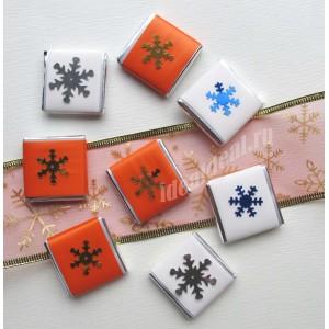 """Шоколадки с Новогодними предсказаниями/пожеланиями внутри  """"оранжевый и белый"""""""