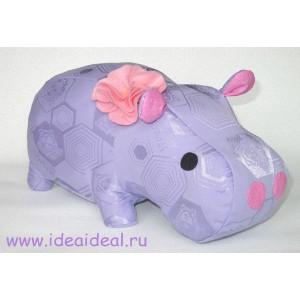 Игрушка-подушка БЕГЕМОТ в сиреневом цвете