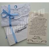 """Приглашение на крещение мальчика """"Голубой кристалл"""" с Вашим текстом"""