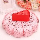 """Торт из бумаги - Бонбоньерки кусочки торта """"Цветочное кружево"""" розовый"""