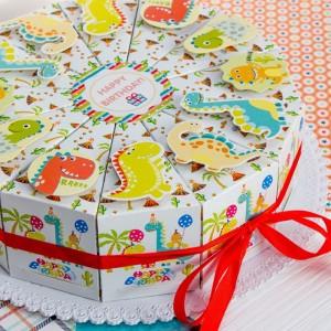 """Торт из бумаги - Бонбоньерки кусочки торта  """"Happy Dino"""""""