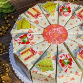 """Торт из бумаги - Бонбоньерки кусочки торта """"Новогодний"""" светлый"""