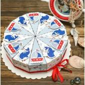 """Торт из бумаги - Бонбоньерки кусочки торта """"Морской"""""""