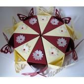 """Торт из бумаги - Бонбоньерки кусочки торта """"Бабочка и цветок"""" айвори и бордо"""