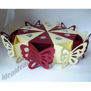 """Торт из бумаги - Бонбоньерки кусочки торта """"Бабочка и сердце"""" айвори и бордо"""