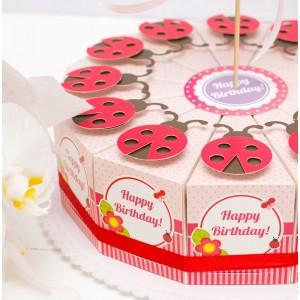 """Торт из бумаги - Бонбоньерки кусочки торта """"Божья коровка"""""""