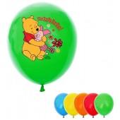 """Воздушные шары (рисунок с 1ой стороны) """"Поздравляю"""" Медвежонок Винни (набор 5 шт) 12 дюйм, МИКС"""