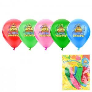 """Воздушные шары """"С Днем Рождения!"""" торт, 30 см (набор 5 шт), цвета МИКС"""