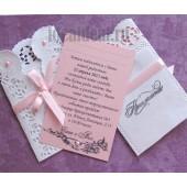 """Приглашение на Крещение девочки """"Розовое кружево"""" №2 с Вашим текстом"""